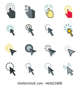 Flat mouse pointer icons set. Universal mouse pointer icons to use for web and mobile UI, set of basic mouse pointer elements isolated vector illustration