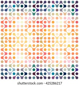 Flat multicolor molecules seamless pattern vector eps10 for fabric, paper and web design