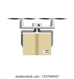 Flat multicopter with cargo, concept of fast shipping, innovative service and remote control toy. Vector illustration isolated on white background.