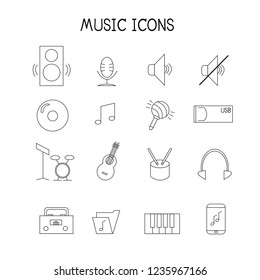 flat music and instrument icon vector