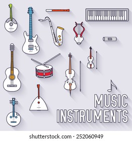 flat music instruments background concept. Vector illustrator. Thin lines outline design