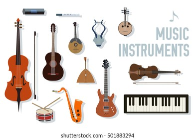 flat music instruments background concept. Vector illustrator design in retro style bright colors