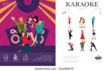 Flat musical entertainment concept with pop rock country opera singers and happy people singing on stage of karaoke club vector illustration