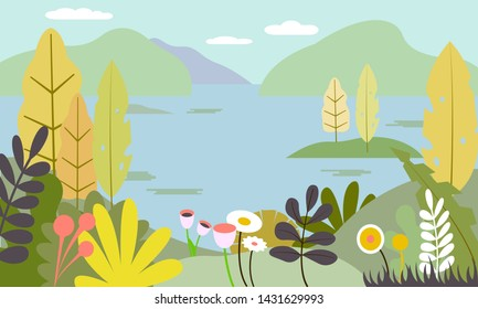 Flat Nature landscape - mountains, sea or river, plants, leaves, trees and sky. Vector illustration in trendy flat style and bright colors - background with copy space for text, banner, greeting card