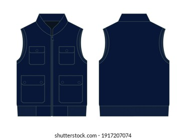 Flat Navy Blue Vest With Multiple Pockets Vector For Template.Front and Back Views.