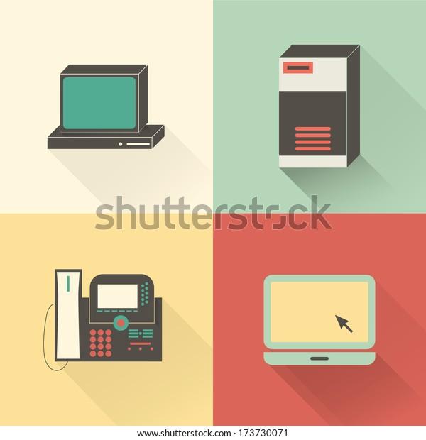 Flat network icon set. PC, server, VoIP phone, laptop.