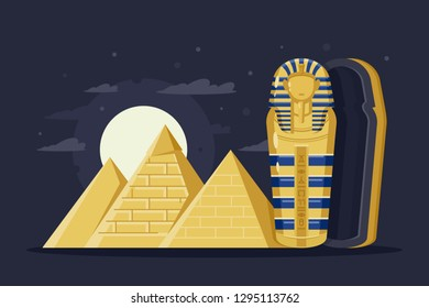 Flat night ancient Egypt with pyramids, moon and Pharaoh s sarcophagus. Concept trip, mysterious overseas attractions. Vector illustration.