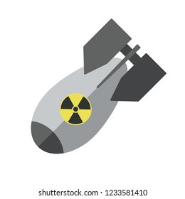 Flat nuclear bomb Vector icon. Nuke Isolated aviation atom bomb. Nuclear winter concept.