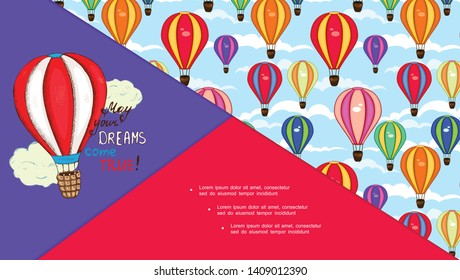 Flat obsolete air transportation composition with colorful hot air balloons flying in clouds vector illustration