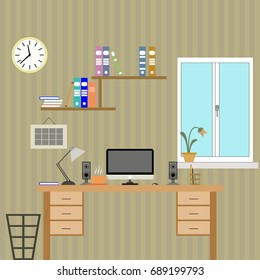 Flat Office with devices. Vector illustration