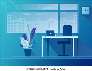 Flat office interior illustration in blue palette