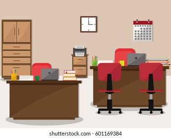 Flat office interior, workspace background.