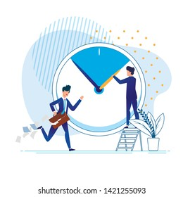 Flat Office Situation Rush Vector Illustration. Time Management Successful Person. Man Works Hard and does Lot. Employee in Business Suit in Hurry. Businessman Holds Arrows on Big Clock.