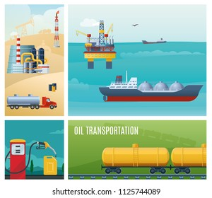 Flat oil industry colorful composition with tanker ship sea drilling rig gas station canister truck refinery plant railroad gasoline tanks vector illustration