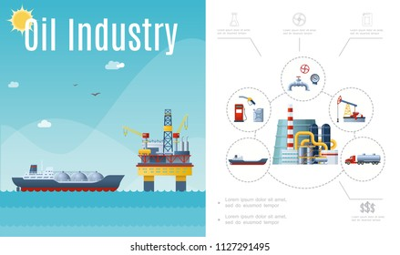 Flat oil industry composition with tanker ship water drilling rig gas station canister fuel pump pipeline manometer valve truck vector illustration