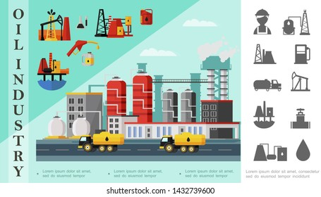 Flat oil industry concept with fuel trucks near petrochemical plant oil derrick drilling rig canisters gas station pump and petroleum monochrome icons vector illustration