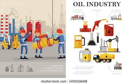Flat oil industry concept with industrial workers fuel truck petrochemical plant oil derrick drilling rig canisters flasks barrels gas station pump vector illustration