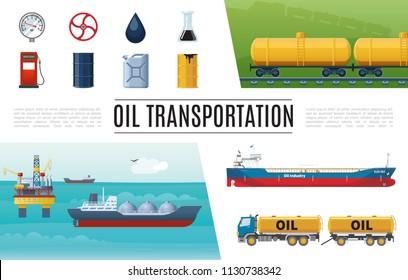 Flat oil industry elements set with truck gas station tanker valve manometer barrel canister gasoline tanks sea drilling rig vector illustration