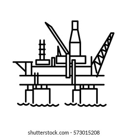 Flat oil platform icon. Vector sign for website or app. Illustration isolated on white background.