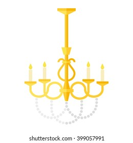 Flat old-fashioned chandelier, Vector editable clip-art