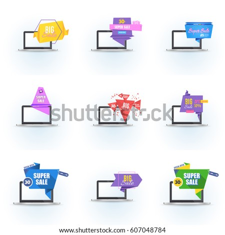 flat origami style sale popup banner stock vector royalty free