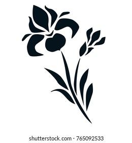 Flat ornamental vector iris flover black on white silhouette japanese style