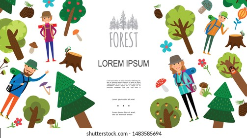 Flat outdoor recreation concept with man woman kids go hiking different trees mushrooms flowers cones stump vector illustration