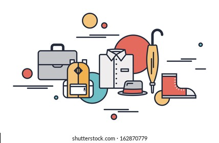 Flat outline modern vector illustration icons of season clothing for business and everyday situation in trend stylish design. Isolated on white background