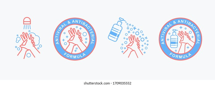 Flat outline vector set of hand sanitizer pump bottle, washing gel, alcohol gel, washing hands . Antiviral antibacterial coronavirus formula vector icons. Coronavirus Covid-19 health protection labels