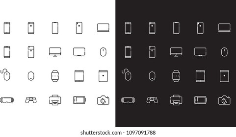 Flat outlined icons set with modern phones, tablets, screens and other devices