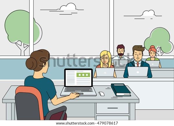 Flat outlined illustration of university teacher working with laptop during class exam or professional lesson. Busy students sitting and learning in the university class with laptops.
