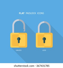 Flat padlock icons. Lock and unlock. Concept password, blocking, security. Lock symbol. Lock vector icon. Vector illustration.