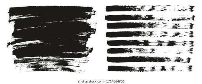 Flat Paint Brush Thin Lines & Background Mix High Detail Abstract Vector Lines Background Mix Set