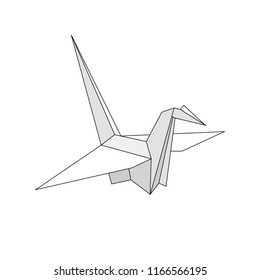 Flat paper cranes or origami isolated on white background. Vector illustration.