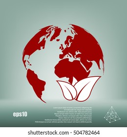 Flat paper cut style icon of eco planet. Vector illustration