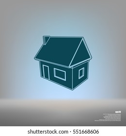 Flat paper cut style icon of house model vector illustration