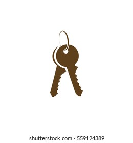 Flat paper cut style icon of an old key. Vector illustration