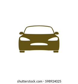 Flat paper cut style icon of a car. Vector illustration