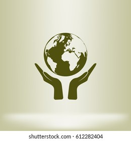 Flat paper cut style icon of two hands holding Earth. Vector illustration