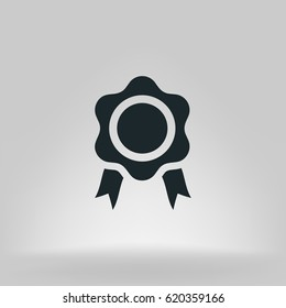 Flat paper cut style icon of seal. Vector illustration