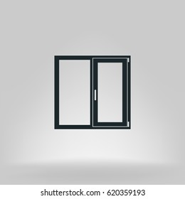 Flat paper cut style icon of modern window. Vector illustration