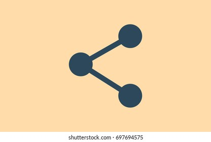 Flat paper cut style icon of share. Vector illustration