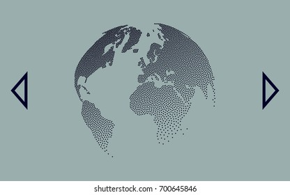Flat paper cut style icon of globe. Vector illustration