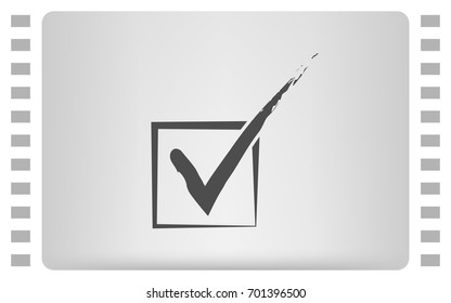 Flat paper cut style icon of check box. Vector illustration