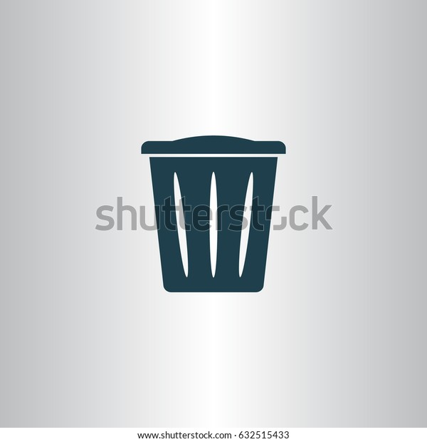 Flat paper cut style icon of trash can. Vector illustration