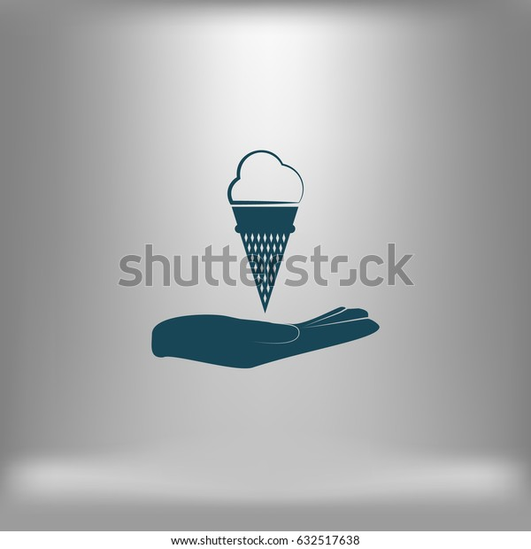 Flat paper cut style icon of cake. Vector illustration