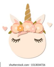 Flat paper cut style pumpkin dressed as unicorn in flower wreath. Hand drawn vector illustration. Cartoon cute character