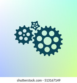 Flat paper styled icon of cogwheels. Vector illustration