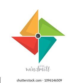 Flat Paper Windmill Logo Icon Emblem