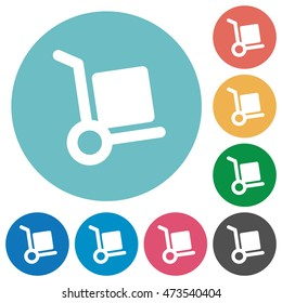 Flat parcel delivery icon set on round color background.